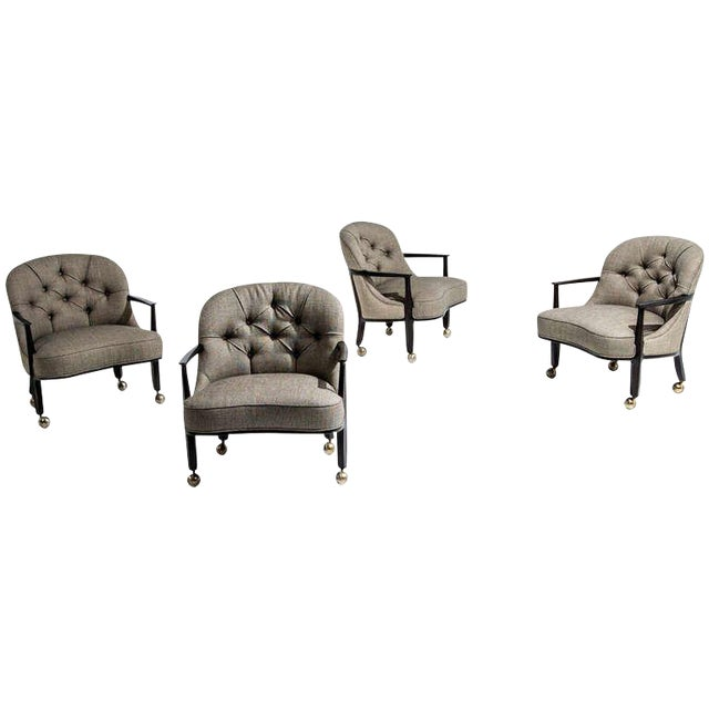 Edward Wormley for Dunbar Janus Armchairs, Set of Four, 1950s For Sale