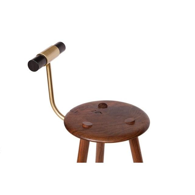 Customizable Erickson Aesthetics Set of Three Walnut Stools For Sale - Image 4 of 5