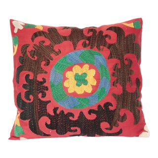 1970s Vintage Multi Color Suzani Pillow Cover -19''x17'' Inches For Sale