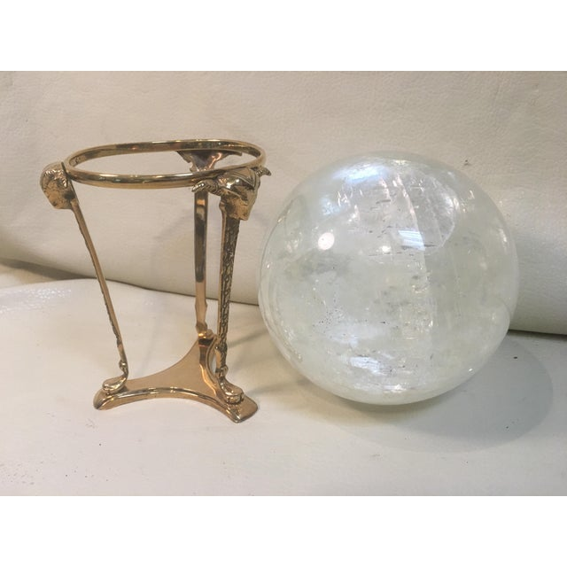 Boho Chic Selenite Orb on Brass Stand For Sale - Image 3 of 9