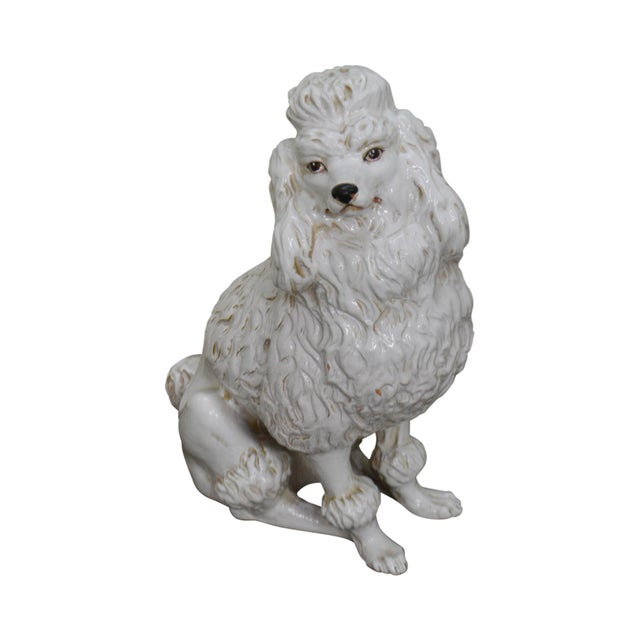 Italian Pottery Vintage White Ceramic Poodle Dog Statue (A) For Sale - Image 13 of 13