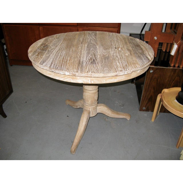 White Round Distressed Table For Sale - Image 5 of 9