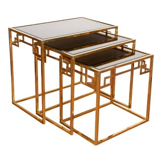 Final Markdown Mid-Century Italian Brass Nesting Tables - Set of 3