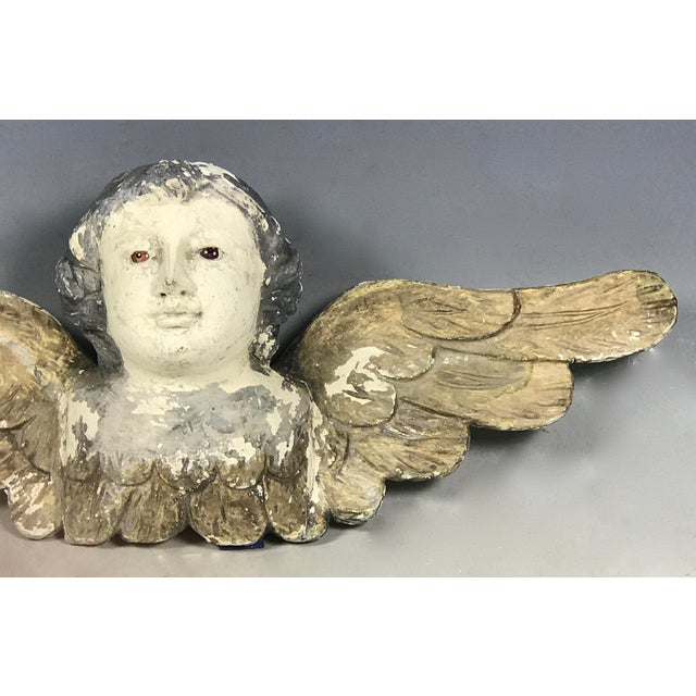 Handcarved Wood Winged Cherub For Sale - Image 5 of 8