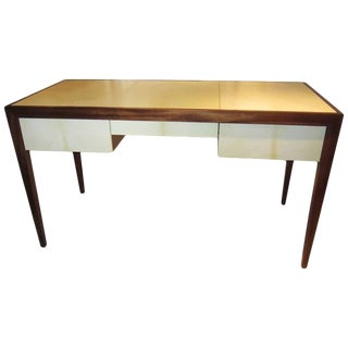 Custom Parchment and Mahogany Writing Desk For Sale