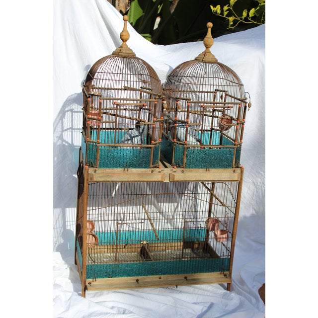 19th c. English Victorian bird cage. Rare to be double domed.