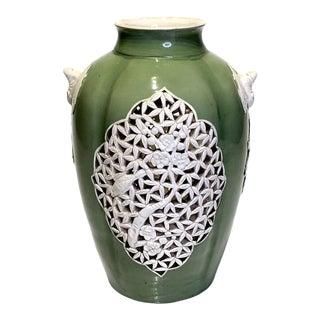 1930's Chinese Republic Period Green & Cream Glazed Vase, Reticulated Prunus Design For Sale