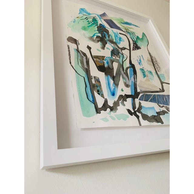 Abstract Teal Contemporary Abstract Painting on Paper by K'era Morgan For Sale - Image 3 of 4