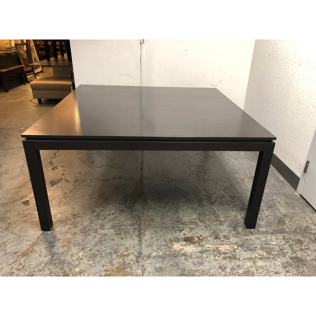 Design Plus Gallery presents a custom square oak dining table. Purchased from the San Francisco Design Center. Styled...