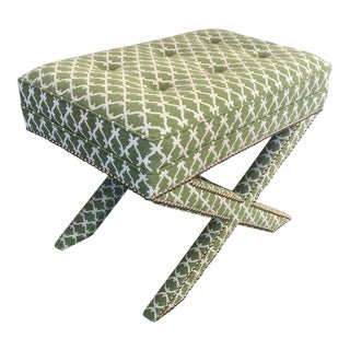 Transitional Green Fabric Upholstered X Bench For Sale