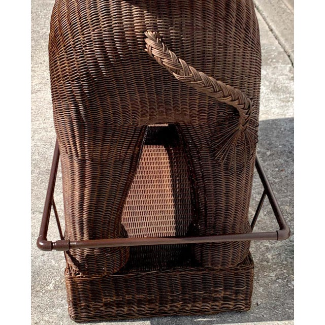 1960s Chinese Export Wicker Elephant Dry Bar For Sale In West Palm - Image 6 of 13