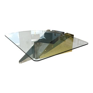 Large American Modern Polished Brass, Chrome and Stainless Low Table, Ron Seff For Sale