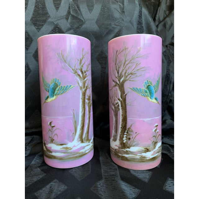 19th Century French Baccarat Opaline Pink & White Glass Vases - a Pair For Sale - Image 13 of 13