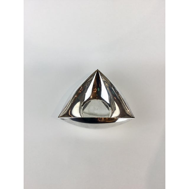 Metal Italian Triangular Pampaloni Silver Plate Bowl For Sale - Image 7 of 11