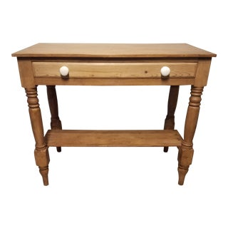 Antique Pine Table With Porcelain Knobs For Sale