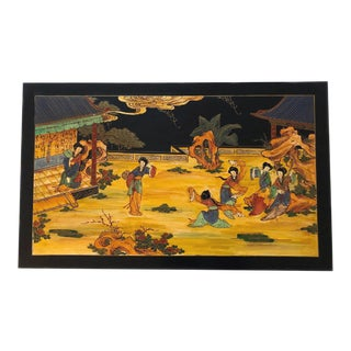 Japanese Geisha Hand Painted Wood Wall Hanging Plaque For Sale