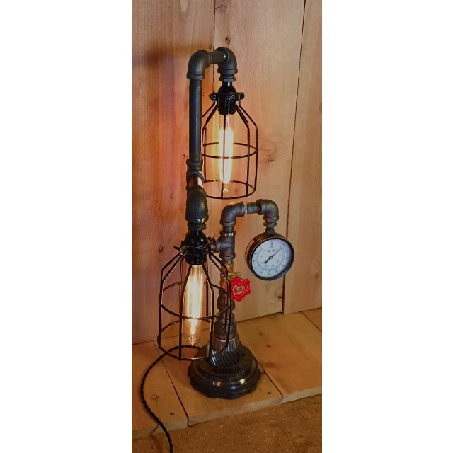 Industrial Steampunk Bulb Cage Lamp - Image 3 of 6