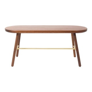 Steven Bukowski Contemporary Scout Bench in Walnut and Brass For Sale