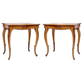 Early 20th Century Louis XIV Style Walnut One Drawer Side Tables - a Pair For Sale