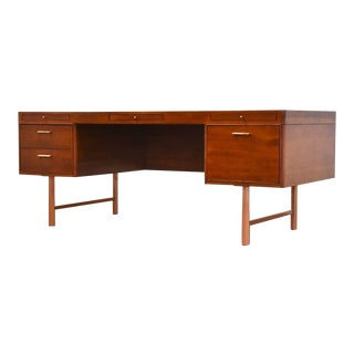 Directional Custom Collection Cherry & Copper Executive Desk For Sale