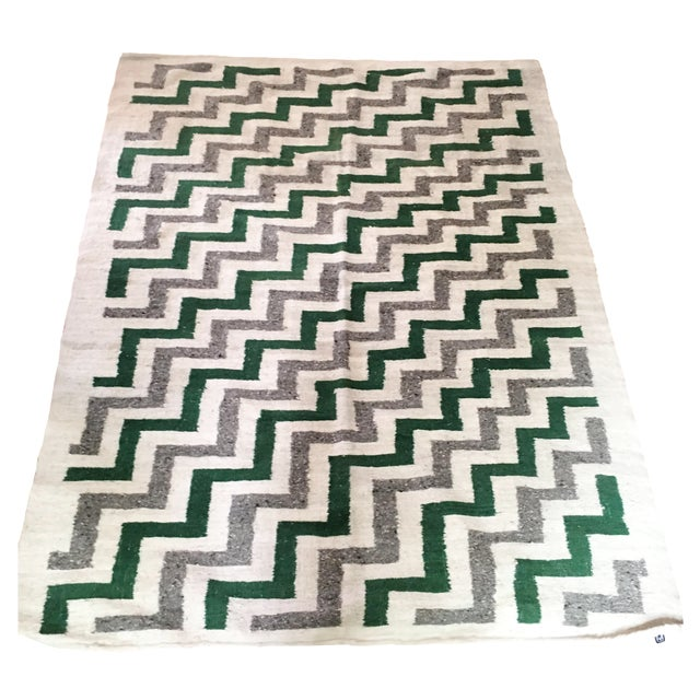 Green & White Wool Flat-Weave Rug - 4′3″ × 5′6″ - Image 1 of 6