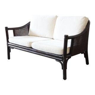 Rattan and Cane Settee or Love Seat by McGuire of San Francisco For Sale