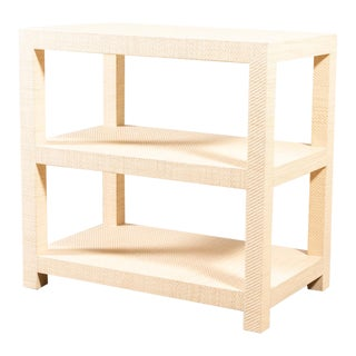 Modern Grasscloth Side Table For Sale