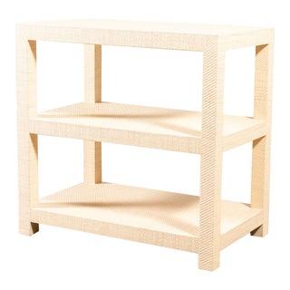 Modern Grasscloth Side Table For Sale