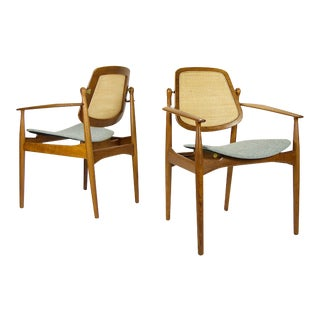 Arne Vodder Cane Back Armchairs - a Pair