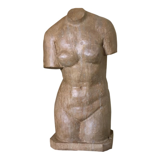 Vintage Marble Female Torso Statue For Sale