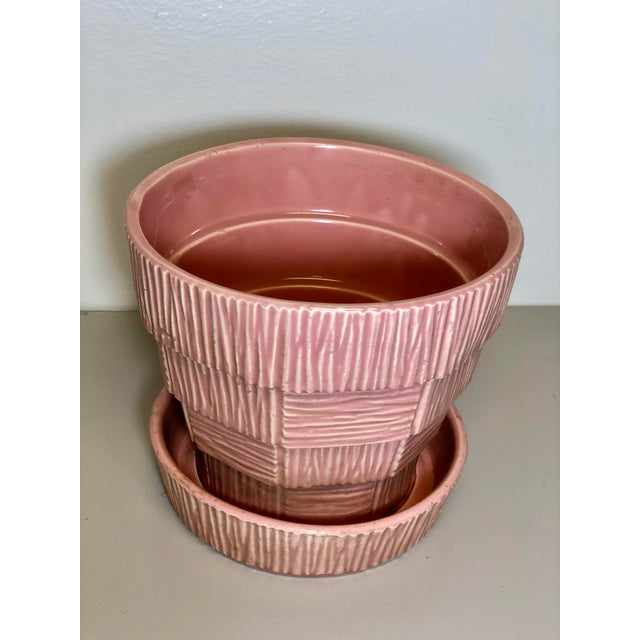 "McCoy Pottery 1940s – 1960s ""Pink"" Mid Century Flower Pot And Attached Saucer Bark Basket Weave Design, Large, Pink glaze..."