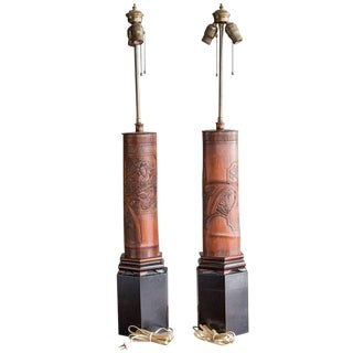 Antique Chinese Carved Bamboo Table Lamps - a Pair For Sale