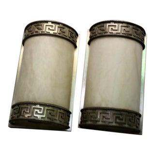 1990s Art Deco Silver Patina Greek Key Design Sconces- a Pair For Sale