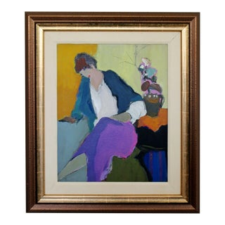 1970s Mid Century Modern Tarkay Framed Orig Acrylic Painting Women N Purple in Thought For Sale