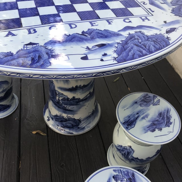 Blue & White Ceramic Game Table Set For Sale In Richmond - Image 6 of 10