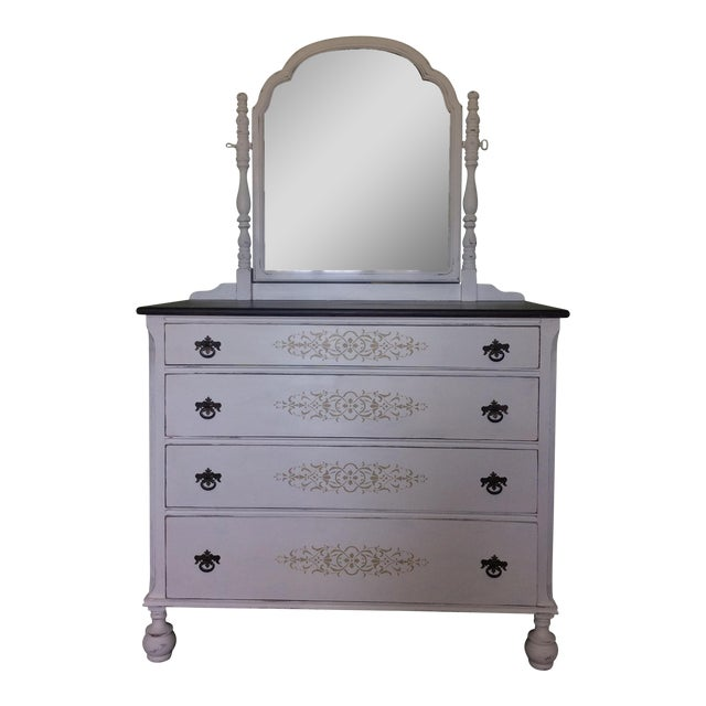 Vintage Hand Painted Mirrored Dresser - Image 1 of 7