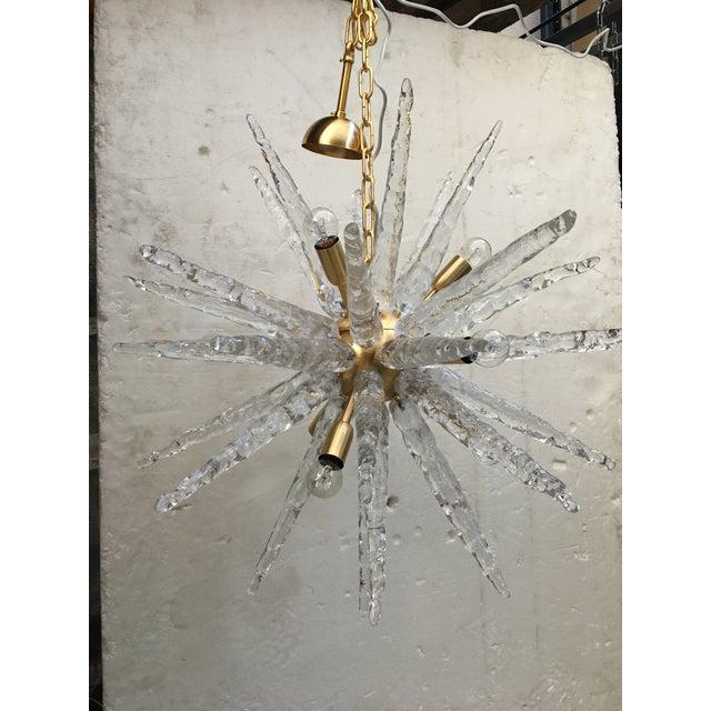 Murano Glass Sputnik Metal Frame Gold Brushed Chandelier For Sale - Image 6 of 12