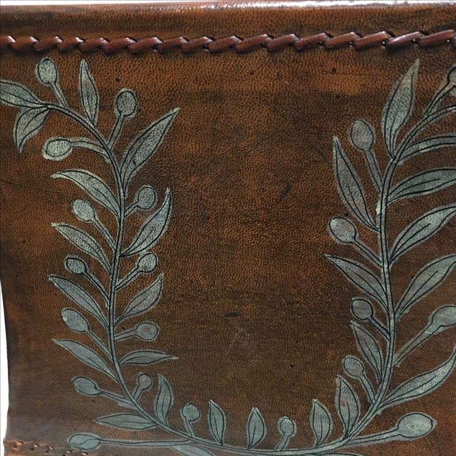 Transitional Brown Leather Planter - Image 5 of 5
