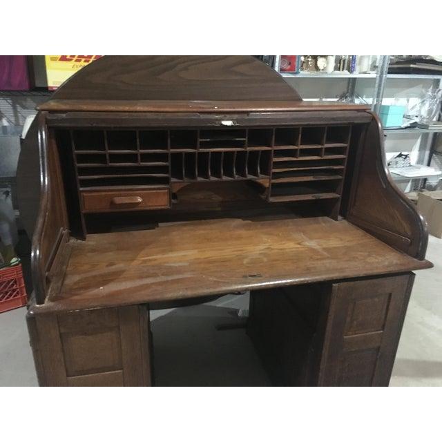 1920s Antique Rolltop Desk For Sale - Image 4 of 5 - 1920s Antique Rolltop Desk Chairish