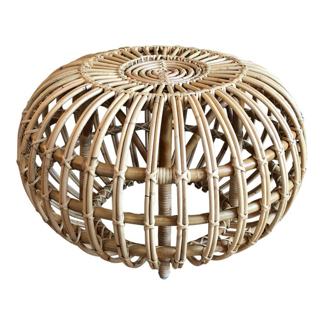 Franco Albini Small Rattan Ottoman - Image 1 of 8