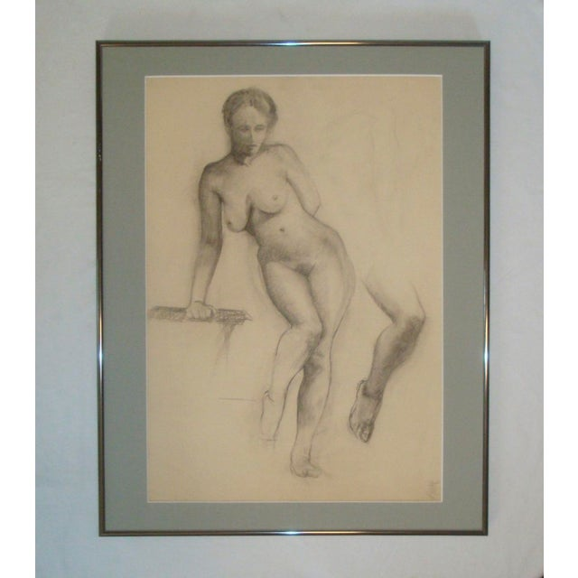 White 1910-20's Nude Female Charcoal Sketch Studio Portrait For Sale - Image 8 of 8