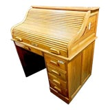 Image of Vintage Roll Top Desk For Sale