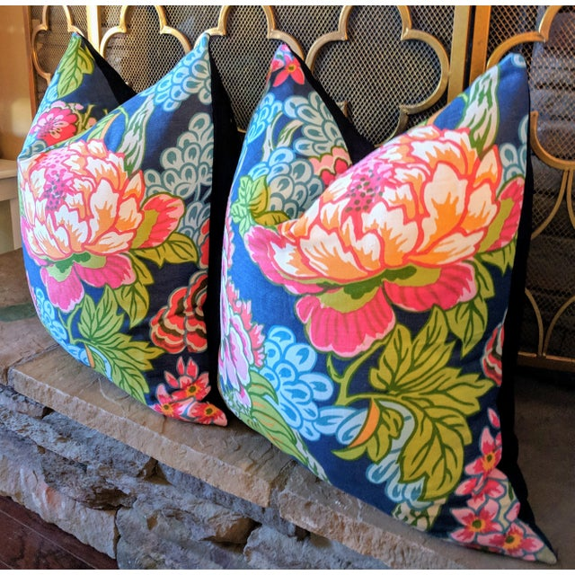 One pair of decorative pillows featuring a floral print design on home decor weight fabric. For a custom made look, a...