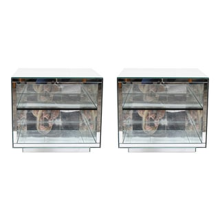 Contemporary Brueton Mirrored Nightstands or Side Tables - a Pair For Sale