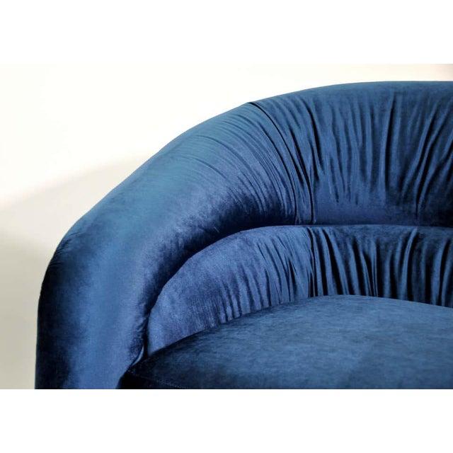 Textile Milo Baughman for Thayer Coggin Blue Velvet Swivel Lounge Chairs - a Pai For Sale - Image 7 of 9