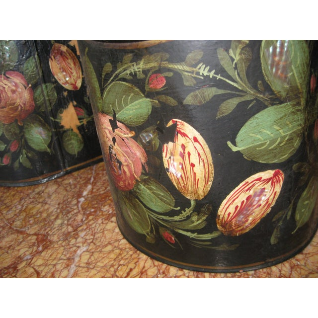 Antique English Painted Tole Storage Containers - Pair For Sale In San Francisco - Image 6 of 7