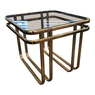 Vintage Hollywood Regency Square Brass + Glass Table For Sale