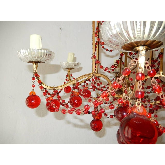 Crystal French Red Murano Ball and Chains Chandelier, circa 1940 For Sale - Image 7 of 11