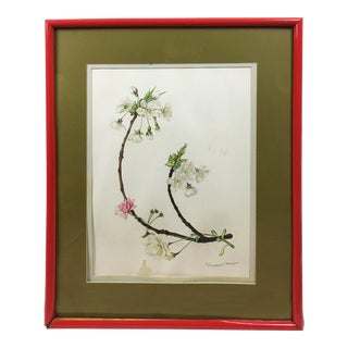 Vintage White Cherry Blossoms Goauche Painting With Scarlet Frame For Sale