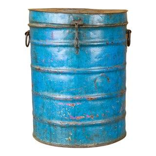 Peacock Blue Wheat Grain Metal Jodhpuri Drum Container For Sale